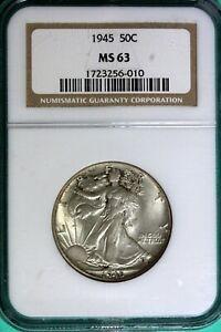 1945 - NGC MS63 Walking Liberty Half Dollar!!  #B25729