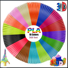 16 Colours 3D Pen Filament Refills 1.75mm PLA 3D Printing Ink Drawing 16 x 23 ft