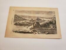 View of Passau Germany & Linz c. 1872 Engraving