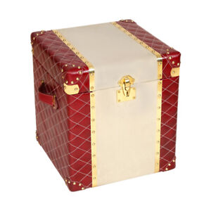Customized Luxury Genuine Leather Home Side Table And Storage Trunk