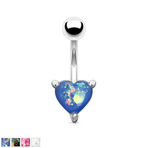 Opal Glitter Heart Prong Set 316L Surgical Steel Belly Bar / Navel Ring