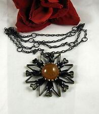 Vintage Faux Amber Black Enamel Flower Necklace   FERAL CAT RESCUE