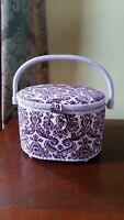 "Cloth purple Sewing Basket  9.5 x 7 "" Pre-owned exc.cond."