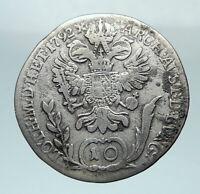1792 B AUSTRIA Emperor Franz II Hapsburg Genuine Silver 10 Kreuzer Coin i81233