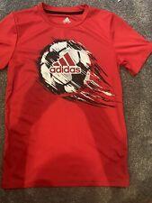 Adiddas Boys Short Sleeved Shirt M 10/12 Red Soccer Ball