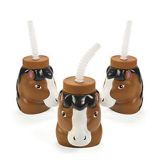 8 Horse Shaped Cups with Straws Stallion Western Cowboy Cowgirl Party Favor
