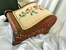 Antique Footstool Needlepoint Flowers w Trim Wood Carved Details