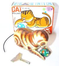 China MS ROLLING CAT Tin Wind-Up Toy Animal Figure MIB`70 VERY RARE!