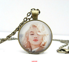 Marilyn Monroe Necklace Kisses Glass Picture Photo Bronze Pendant Jewelry