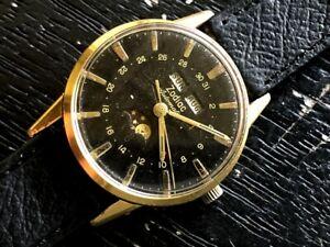 Rare Zodiac 1960s Original Black Dial Cal 70-72 MoonPhase 743-908 Automatic RUNS