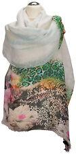 Schal 100% Leinen linen  digital printed scarf stole Floral Blumen