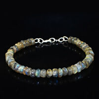 90.00 Cts Natural Round Untreated Blue Flash Labradorite Beads Bracelet (DG)