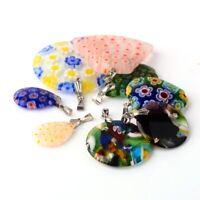 10 Mischung Millefiori Anhänger Glas für Halskette Charm Bunt Schmuck BEST R50