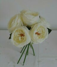 Artificial Ivory Silk Bouquet Vintage Rose Hand Tie Bunch of Flowers - Wedding