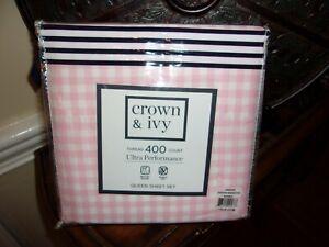 NIP Crown & Ivy Gingham Meadow Pink 400TC Performance Queen Sheet Set 4pc