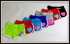 Girls Sport PE Dance Shorts Summer Hearts Red Blue Yellow 1.5 2 3 4 5 6 age