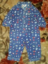 BOYS Sz 1 blue red & yellow TINY LITTLE WONDERS winter pajamas COMFY PJs! SPACE!