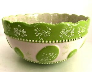 Temp-tations by Tara Mixing Serving Bowl Temptations Floral Lace Green 1 Quart