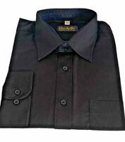 "Mens Black Shirt Rochelle Size 17"" Collar Long Sleeve Work Formal Smart NEW"