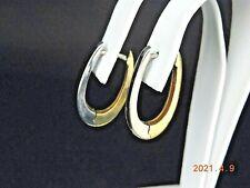 18K TWO-TONE GOLD HOOP EARRINGS         NR