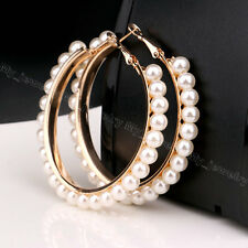 Women Fashion Jewelry Pearl Gold Silver Plated Ear Hook Hoop Circle Earrings New
