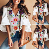 Womens Boho Floral 3/4 Sleeve V Neck Shirt Tops Ladies Casual Loose Gypsy Blouse