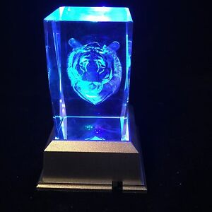 New Tiger Face -   3D Laser Etched Crystal Block With Light base