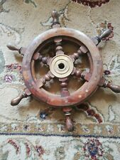 "vintage style wood /& brass Maritime decorative ship´s wheel 2´6/"" 76cm"