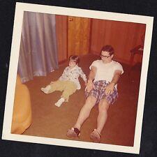 Vintage Photograph Dad & Little Boy Sitting on Floor in Livingroom Doing Sit Ups