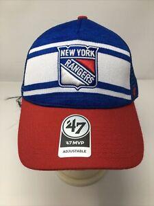 NHL NY New York Rangers Cap 47 Brand Mesh Adjustable Baseball Trucker Hat New