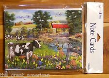 8 Leanin Tree Note Cards Cows Geese Flowers Farm Country Covered Bridge Made USA