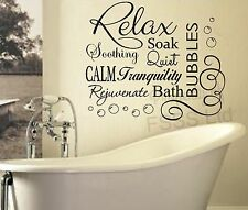 RELAX SOAK BUBBLES BATH DB QUOTE WALL ART STICKER DECAL VINYL DIY HOME BATHROOM
