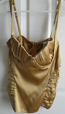 GUESS BY MARCIANO SEXY GOLD SILK BUSTIER CAMISOLE TOP SIZE MEDIUM