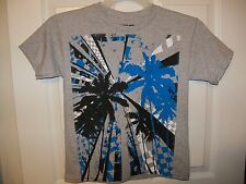Hang Ten Gray Palm Tree Short Sleeve Shirt Beach Boys Size Small 8 NWT