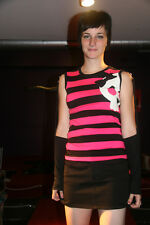 Attempt - Medium - Striped HOT Top with Arm Warmers Skull Patch Pink & Black NWT