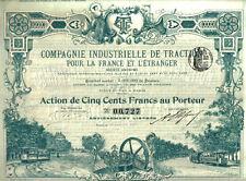 France bond 1899 Traction Co 500 francs Uncancelled coupons TOP DECO Tramways