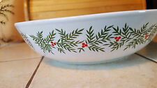 """Holiday Christmas Serving Bowl White Green Leaves Holly Berries 9 1/2"""" Round"""