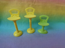 Plastic Dollhouse Reclining Back Stools 3 Pieces