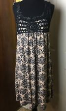 NWT Just Love Women's Brown Print Sleeveless Dress with Crochet Detail - Size 1X