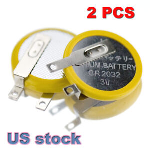 TWO NEW CR2032 Lithium Battery CMOS backup with solder tabs