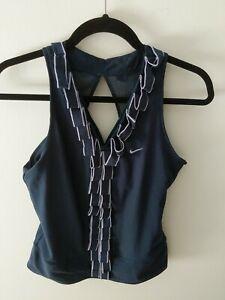 NWOT Nike Fit Dry Tank Top Women's Mesh Back Navy/Lavender Size Medium Athletic