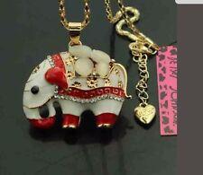 Betsey Johnson Necklace ELEPHANT Red White CRYSTALS  Stones Elephant Beautiful