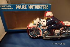 Mib 1960's Vintage Tin Litho Friction-Powered Police Motorcycle