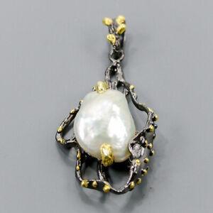 Jewelry Fine Art Baroque Pearl Pendant Silver 925 Sterling  /NP12725