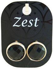 Zest Faceted Gem & Silver Edge Earrings for Pierced Ears Black