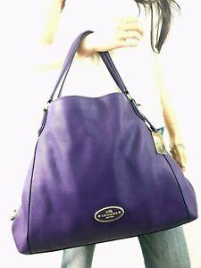 COACH Purple Refined Pebble Leather Edie Shoulder Bag #33547