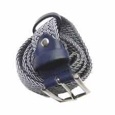 Cintura uomo grigia corda intrecciata melange argento pelle blu 95 110 120 Italy