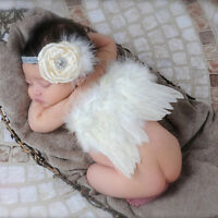 Newborn Baby Girls Boys Child White Wings Costume Photo Photography Prop Outfits