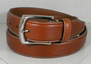 757632 MSBLT20 Men's Belt Size 42 Tan Leather Johnston & Murphy