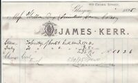 James Kerr Crown Street Glasgow 1895 Charge Coal Invoice Ref 41001